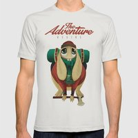 The Adventure Begins Mens Fitted Tee Silver SMALL