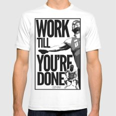 Work till you're done White SMALL Mens Fitted Tee