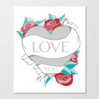 Love- Heart Tattoo Canvas Print