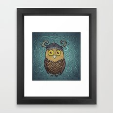Brave Viking Owl Framed Art Print