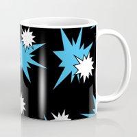 Stars (Blue & White on Black) Mug