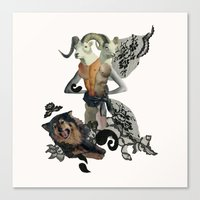 Caprica And Her Dog Canvas Print