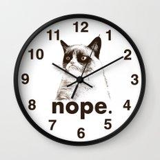 NOPE - Grumpy cat. Wall Clock
