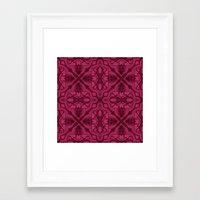 Dotted Tile: Wine-berry  Framed Art Print