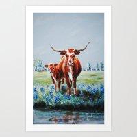 Longhorns And Bluebonnet… Art Print