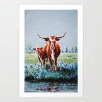 Longhorns And Bluebonnet… Art Print