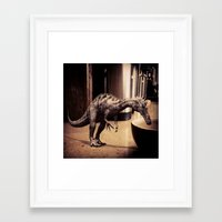Thirsty Dino Framed Art Print