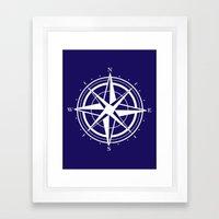 Compass - Navy Blue Framed Art Print