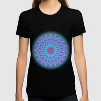 Psychedelic mandala Womens Fitted Tee Black SMALL