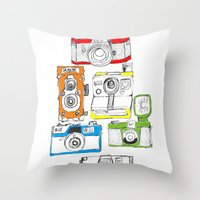 Colorful Cameras Throw Pillow