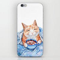 Happy Cat Drinking Hot Chocolate iPhone & iPod Skin