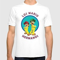 Los Mario Hermanos Mens Fitted Tee White SMALL