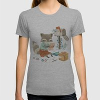 Raccoon Post Womens Fitted Tee Athletic Grey SMALL