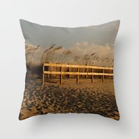 sandy beach Throw Pillow