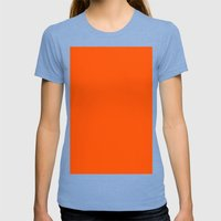 International orange (aerospace) Womens Fitted Tee Tri-Blue SMALL