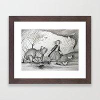 Storms, Bears, Berries, Birds, and Leaflings Framed Art Print
