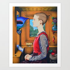 Portrait of a Woman with a Bird at a Casement Art Print