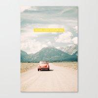 NEVER STOP EXPLORING V - vintage volkswagen bug Canvas Print
