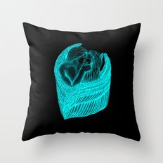 Angels Kissing in green and black design Throw Pillow