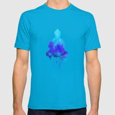 Watercolor Zen Buddha Bl… Mens Fitted Tee Teal SMALL