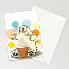 Polar bear's summer time Stationery Cards