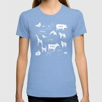 Animal Noises In Blue Womens Fitted Tee Tri-Blue SMALL