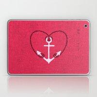 Fuschia Pink Vintage White Anchor Girly Love Heart Laptop & iPad Skin