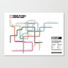 Rock'n'Roll Metro Map Canvas Print