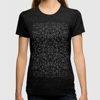 Abstract Collide Outline White on Black Womens Fitted Tee Tri-Black SMALL