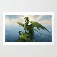 Green Dragon v2 Art Print
