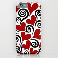 Red Hearts & Swirls iPhone 6 Slim Case