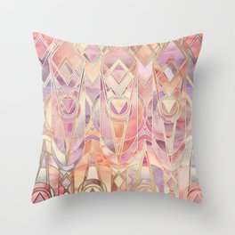 Throw Pillow - Glowing Coral and Amethyst Art Deco Pattern - micklyn