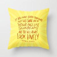 Roald Dahl On Positive T… Throw Pillow