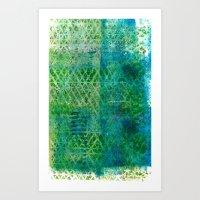Green Triangles On Blue Art Print