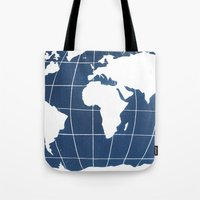 Navy Map of the World Tote Bag