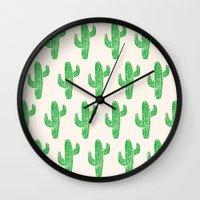 Linocut Cacti Green Wall Clock