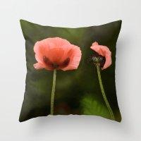 Couple Pink Oriental Poppies Throw Pillow