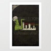 Dinosaur In The City Art Print