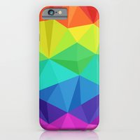 iPhone & iPod Case featuring rainbow low poly by tony tudor