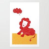 Sleeping Red Lion Art Print