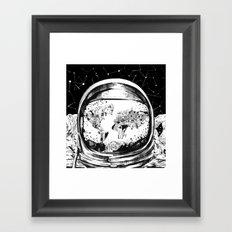 astronaut world map black and white 1 Framed Art Print