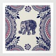Elephant Pink Art Print