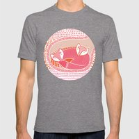 Sleepy Happy Foxes Mens Fitted Tee Tri-Grey SMALL