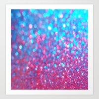 Sky Blue Pink Sparkle Glitter Gradient Art Print
