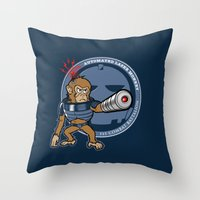 Automated Laser Monkey Throw Pillow