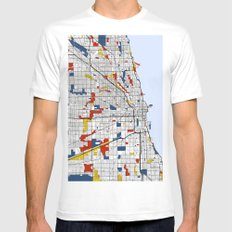 Chicago Mondrian SMALL White Mens Fitted Tee