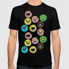 Pug Donuts  SMALL Mens Fitted Tee Black