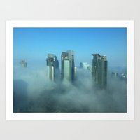 Misty Doha Morning Art Print