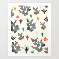 Cactus Desert Black And … Art Print