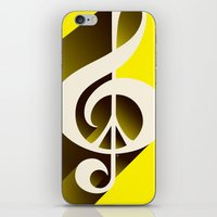 Yellow Retro Shadow Musi… iPhone & iPod Skin